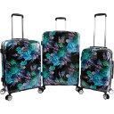 ベベ メンズ スーツケース バッグ Rosette 3 Piece Set Suitcase with Spinner Wheels Black/Purple