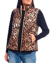 ウエストバウンド レディース ベスト アウター Bold Leopard Quilted Stand Collar Faux Fur Lined Zip Front Vest Bold Leopard