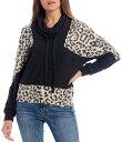 ショッピングパーカ モアモア レディース パーカー・スウェット アウター Cheetah Print Colorblock Sleeve Cowl Neck Pullover Animal/Charcoal