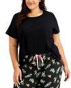 ショッピングjenni ジェニィ レディース Tシャツ トップス Plus Size Ribbed-Knit Sleep T-Shirt Deep Black