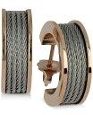 シャリオール レディース ピアス・イヤリング アクセサリー Women's Forever Silver-Tone and Rose Gold-Tone PVD Stainless Steel Cable Hoop Earrings Two-Tone
