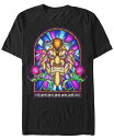 ショッピングWindows ディズニー メンズ Tシャツ トップス Men's Beauty and the Beast Stained Glass Window Short Sleeve T-Shirt Black