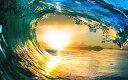 絵画風 壁紙ポスター (はがせるシール式) 波 サンセット ウェーブ チューブ ハワイ 夕陽 日没 サーフィン 海 キャラクロ SWAV-016W2 (ワイド版 603mm×376mm) 建築用壁紙+耐候性塗料 インテリア