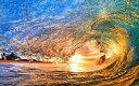 絵画風 壁紙ポスター (はがせるシール式) 波 サンセット ウェーブ チューブ ハワイ 夕陽 日没 サーフィン 海 キャラクロ 剥がせる壁紙 貼ってはがせる壁紙 おすすめ 癒し SWAV-017W1 (ワイド版 921mm×576mm) 建築用壁紙+耐候性塗料 インテリア