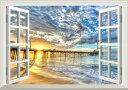 絵画風 壁紙ポスター (はがせるシール式) -窓の景色- 波 夕陽の桟橋と波 幻想的な雲 ビーチ カリブ海 癒し 【窓仕様/トリックアート】 キャラクロ SWAV-003MA2 (A2版 594mm×420mm) 建築用壁紙+耐候性塗料