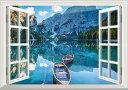 絵画風 壁紙ポスター (はがせるシール式) -窓の景色- 鏡面のブライエス湖 ボート ドロミテ地方 東アルプス山脈 イタリア 【窓仕様/トリックアート】 キャラクロ LAKF-004MA1 (A1版 830mm×585mm) 建築用壁紙+耐候性塗料 インテリア