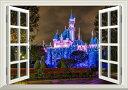 絵画風 壁紙ポスター (はがせるシール式) -窓の景色- ディズニーランドの夜景 カリフォルニア 【窓仕様/トリックアート】 キャラクロ DNLC-002MA2 (A2版 594mm×420mm) 建築用壁紙+耐候性塗料 インテリア