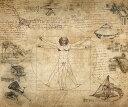 絵画風 壁紙ポスター (はがせるシール式) レオナルド・ダ・ヴィンチ コラージュ ウィトルウィウス的人体図 キャラクロ K-DVC-002S1 (697mm×585mm) 建築用壁紙+耐候性塗料