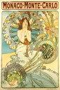 絵画風壁紙ポスター(はがせるシール式)アルフォンス・ミュシャモナコ・モンテカルロ(P.L.M鉄道のポスター)1897年アールヌーヴォーキャラクロK-MCH-050S2(408mm×603mm)建築用壁紙+耐候性塗料インテリア
