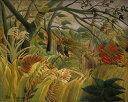 絵画風 壁紙ポスター(はがせるシール式) アンリ・ルソー 熱帯嵐のなかのトラ 1891年 キャラクロ K-RSU-007S2 (594mm×474mm) 建築用壁紙+耐候性塗料 インテリア