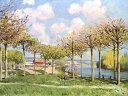 絵画風 壁紙ポスター (はがせるシール式) アルフレッド・シスレー ブージヴァルのセーヌ河 1876年 メトロポリタン美術館 キャラクロ K-SSL-007S1 (777mm×585mm) 建築用壁紙+耐候性塗料 インテリア
