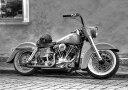 絵画風 壁紙ポスター (はがせるシール式) ハーレー ダビッドソン FLH ショベルヘッド 1970年代 バイク モノクロ キャラクロ HDFL-002A1 (A1版 830mm×585mm) 建築用壁紙+耐候性塗料 インテリア