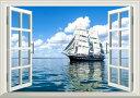 絵画風 壁紙ポスター (はがせるシール式) -窓の景色- 帆船 クリッパー セーリング・シップ ヨット 航海 海 【窓仕様/トリックアート】 キャラクロ SSHP-009MA1 (A1版 830mm×585mm) 建築用壁紙+耐候性塗料