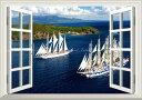 絵画風 壁紙ポスター (はがせるシール式) -窓の景色- 帆船 クリッパー セーリング・シップ ヨット 航海 海 【窓仕様/トリックアート】 キャラクロ SSHP-014MA1 (A1版 830mm×585mm) 建築用壁紙+耐候性塗料