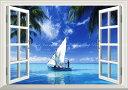 絵画風 壁紙ポスター (はがせるシール式) -窓の景色- ヨット エメラルドブルーのセーリング ブルースカイ 海 【窓仕様/トリックアート】 キャラクロ SYHT-006MA2 (A2版 594mm×420mm) 建築用壁紙+耐候性塗料
