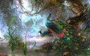 絵画風 壁紙ポスター (はがせるシール式) クジャク 孔雀の飾り羽 インドクジャク マクジャク 鳥 キャラクロ BKJK-001W2 (ワイド版 6..