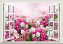 絵画風 壁紙ポスター (はがせるシール式) -窓の景色- ピンクのバラと白いチューリップ 薔薇 ローズ チューリップ 【窓仕様/トリック..
