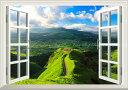 絵画風 壁紙ポスター (はがせるシール式) -窓の景色- -地球の撮り方- まるでジブリの世界、天空の道「ラピュタの道」 阿蘇 外輪山 カルデラ 日本の絶景【窓仕様/トリックアート】 キャラクロ C-ZJP-019MA2 (A2版 594mm×420mm)