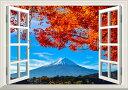 絵画風 壁紙ポスター (はがせるシール式) -窓の景色- -地球の撮り方- 河口湖の紅葉まつりと富士山 日本の絶景 【窓仕様/トリックアート】 キャラクロ C-ZJP-036MA2 (A2版 594mm×420mm) 建築用壁紙+耐候性塗料 インテリア