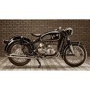 絵画風 壁紙ポスター (はがせるシール式) BMW R50 1955-60年 アールズフォーク ヴィンテージ バイク セピア キャラクロ BBMR-005S2 (603mm×343mm)