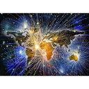 絵画風 壁紙ポスター (はがせるシール式) ファイヤーワーク世界地図 アート 光 花火 キャラクロ WMP-016A2 (A2版 594mm×420mm) 建築用壁紙+耐候性塗料