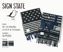 マフラー 星条旗 or ネイティブ柄 SIGN STATE サインステイト フリンジマフラー メンズ レディース ウール ビスコース ロングマフラー
