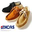 本革スエード モカシンブーツ DICAS ディカス スペイン製 ボアブーツ スウェード モックトゥ 裏ボア ムートン ワラビータイプ ショートブーツ ベージュ キャメル ブラック メンズ 冬靴 シューズ