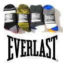 クォーターソックス 3Pセット EVERLAST エバーラスト メンズ ミドルソックス 靴下3足セット 厚手