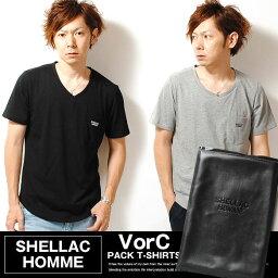 メンズTシャツ SHELLAC HOMME シェラック オム パックT 無地Tシャツ XLサイズ ホワイト ブラック メンズ プレゼントにも最適 夏物 夏服 tp