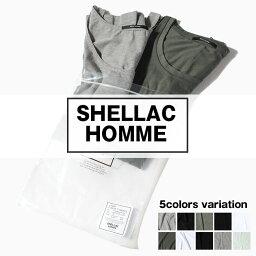 メンズTシャツ タンクトップ 2枚入りセット SHELLAC HOMME シェラック オム パックT 無地Tシャツ XLサイズ ホワイト ブラック アンサンブル メンズ