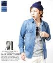 デニムシャツ 8oz ヴィンテージデニムウエスタンシャツ / デニムシャツ メンズ ビンテージ インディゴ ネイビー ブルー/ sh