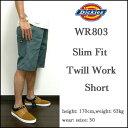 DICKIES/ディッキーズ/ハーフパンツ/メンズ/スリムフィット/WR803/Slim Fit Twill Work Short/L.グリーン/ワークショーツ/チノ