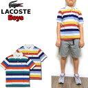 ラコステ LACOSTE キッズ ポロシャツ PJ3583 Boys Colored Stripe Polo ボーイズ ストライプ 130 140 150 160 男の子