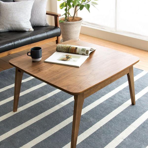 こたつ テーブル KENNY 正方形 75 北欧 ヴィンテージ 西海岸 木製 ウォールナット おしゃれ 一人用 コンパクト 送料無料 即日対応【4/24以降の注文は、5/7以降順次出荷】