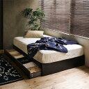 ベッド 収納 収納付き ローベッド Kurt セミダブル ゴールドプレミアム ポケットコイル マットレス付き レトロ ナチュラル 木製 送料無料