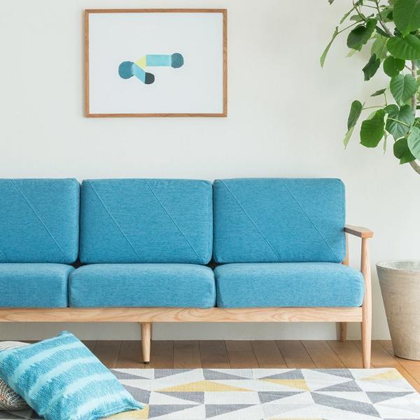 北欧 カバーリングソファー 3人掛け ソファー lull sofa ブルー シンプル ナチュラル 北欧 洗える 布地 おしゃれ おすすめ 送料無料 時間指定不可の写真