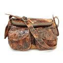 【中古】◆michiamo ミキアモ ショルダーバッグ◆ brown /茶/ブラウン/ダメージ加工/斜め掛け/レディース/鞄