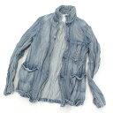 【中古】◆one gravity ワングラビティ 皺加工デニムジャケット Mサイズ◆ blue /青/ライトブルー/メンズ/男性用/ジャケット/シワ/USED