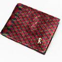 【中古】◆Roberta di Camerino ロベルタディカメリーノ 総柄 二つ折り財布◆ レッド系/パイル地/dロゴ/イタリア製/レディース/小物/ウォレット