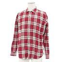 ◆Papas パパス チェック柄 長袖シャツ サイズM◆ red /赤/レッド/ロゴボタン/メンズ/トップス【中古】