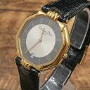 ◆Christian Dior クリスチャンディオール オクタゴン ヴィンテージ腕時計 D45-154◆ブラック×ゴール/デイト/男女兼用使用可/小物/クォーツ【中古】