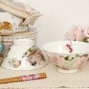 おしゃれ ご飯茶碗 食器 ギフトボックス入り 薔薇雑貨 花柄 猫柄 ふくろう