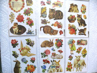 Victorian iron transfer sheets animal flower rabbit cat