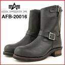 ALPHA INDUSTRIES アルファインダストリーズafb-20016エンジニア ブーツ メンズ ブランドBLACK ブラック 黒本革 牛革 オイルレザーGOODYEAR WELT グッドイヤー ウエルトスチールキャップトゥ