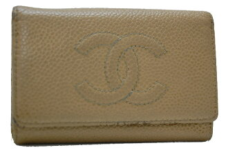 Chanel caviar skin 6-key case beige A13502 fs3gm