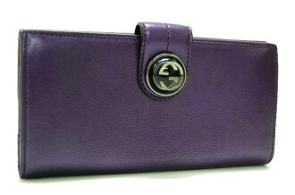 Gucci leather W hook length wallet purple metallic 229398 fs3gm