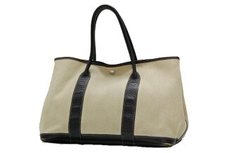 Hermes garden party PM tote bag toil ash chestnut G ticking