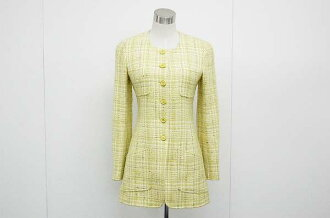 Chanel 97P tweed coat 36 LimeGreen