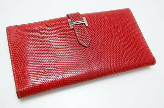 "Hermes 2 fold wallet ""Bernd"" red / silver metal lizard F ever-fs3gm"