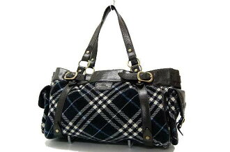 Burberry Blue label check tote bag corduroy / leather Navy fs3gm